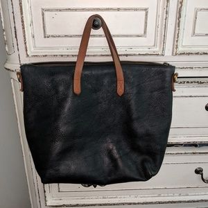 Madewell leather zip tote bag purse navy